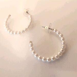 Express pearl hoop earring Brand New!